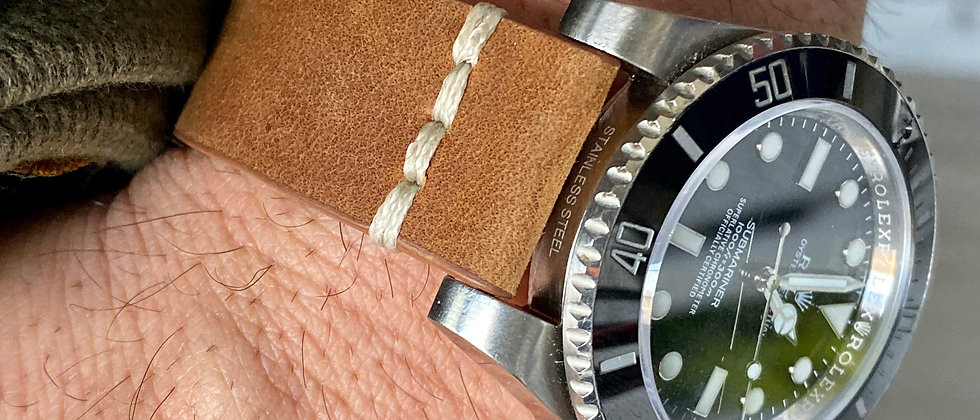 BROWN Cowhide Leather Watch strap WHITE Line Stitching