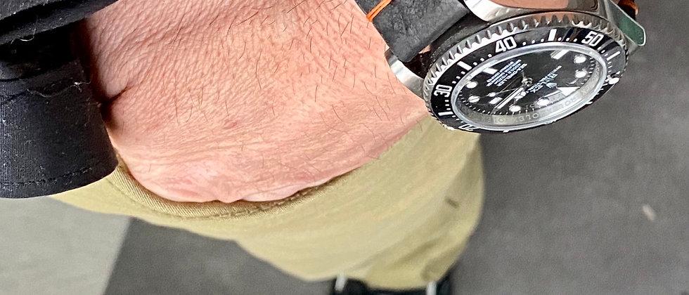 BLACK Modern Vintage Leather watch strap Thin ORANGE stitch
