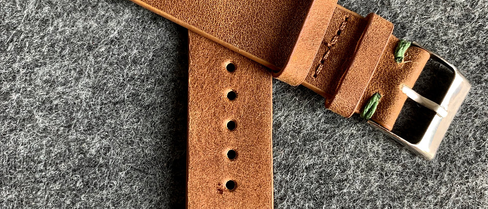 BROWN Vintage Leather strap GREEN stitching