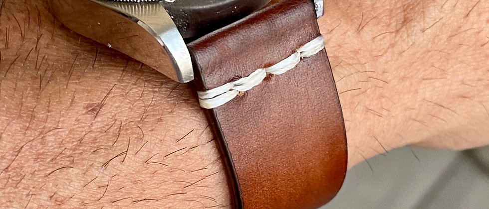 """""""Scorched"""" BROWN Cumberland Canyon leather WHITE line"""