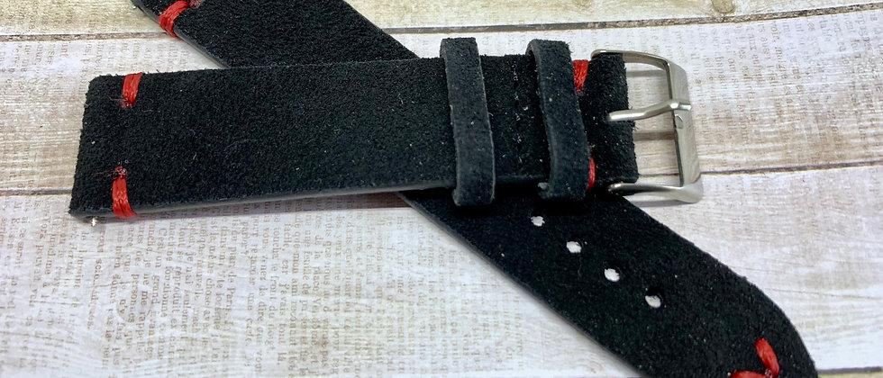 Vintage Suede Leather - Hand Made Black