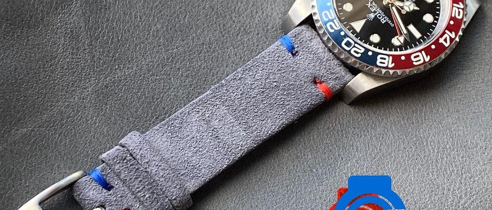 Gray Suede GMT (Pepsi) strap