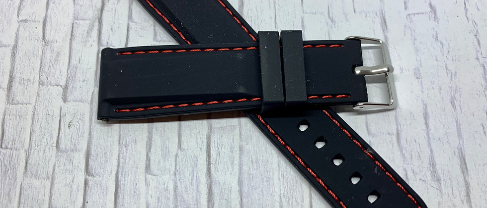 Black Rubber Strap RED Stitching