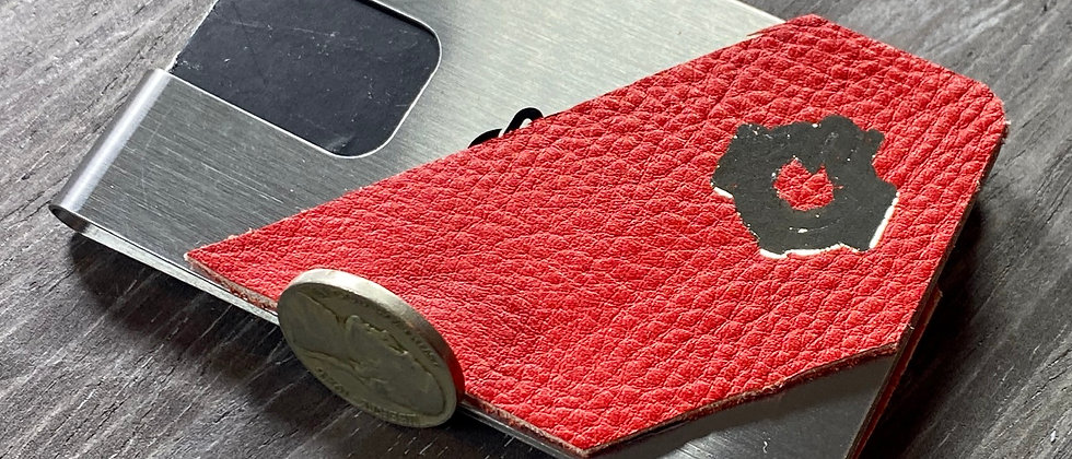 Red Leather & Steel Modern Minimalistic front pocket wallet