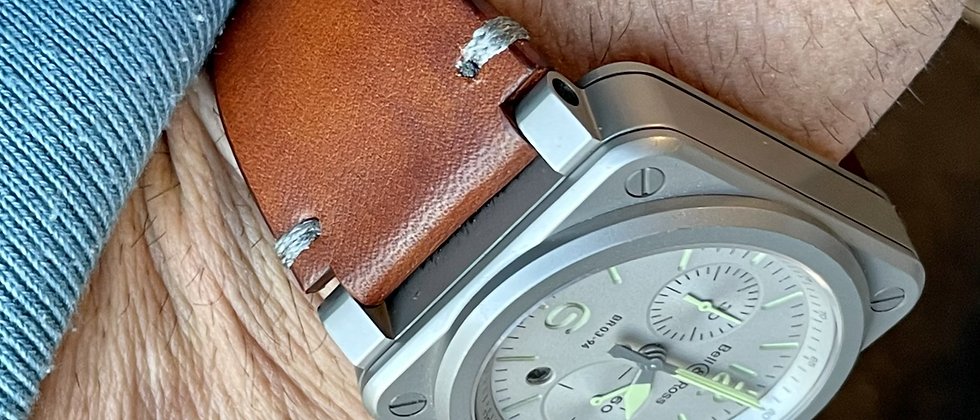 24mm Sunset BROWN bell and Ross strap GRAY stitch