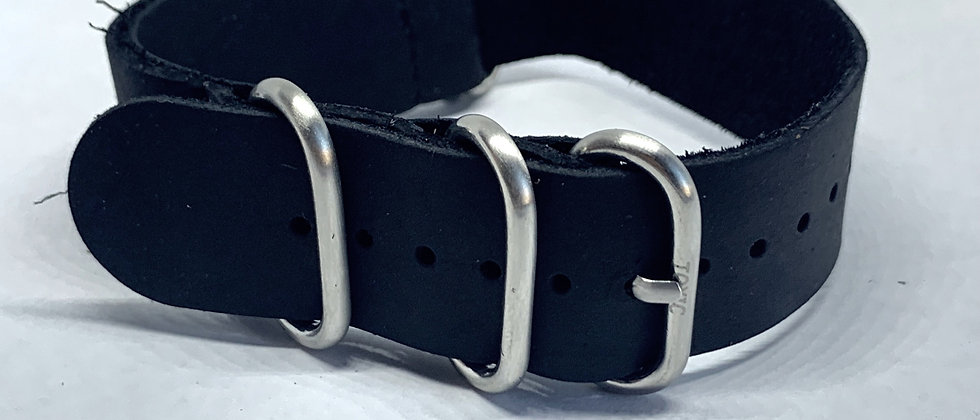 Black Leather Nato - High Quality