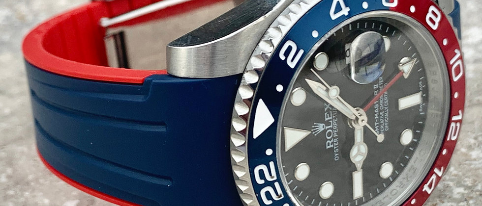 20mm Rolex Vulcanized Rubber strap/band BLUE & RED