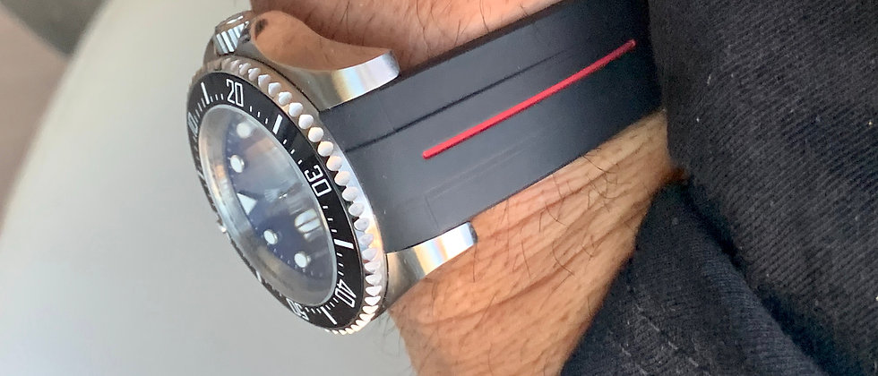 21mm Black Vulcanized Rolex Rubber Strap RED stripe DeepSea