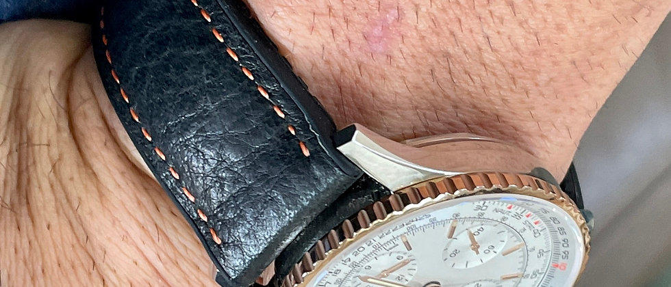 22mm BLACK waterproof top grain leather rubber bottom ORANGE