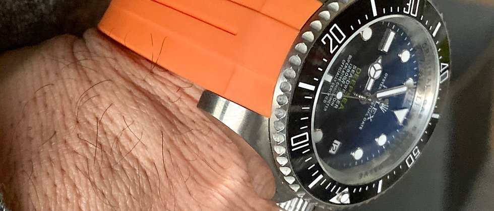 21mm ORANGE Vulcanized Rubber strap for 44mm Rolex Deep Sea