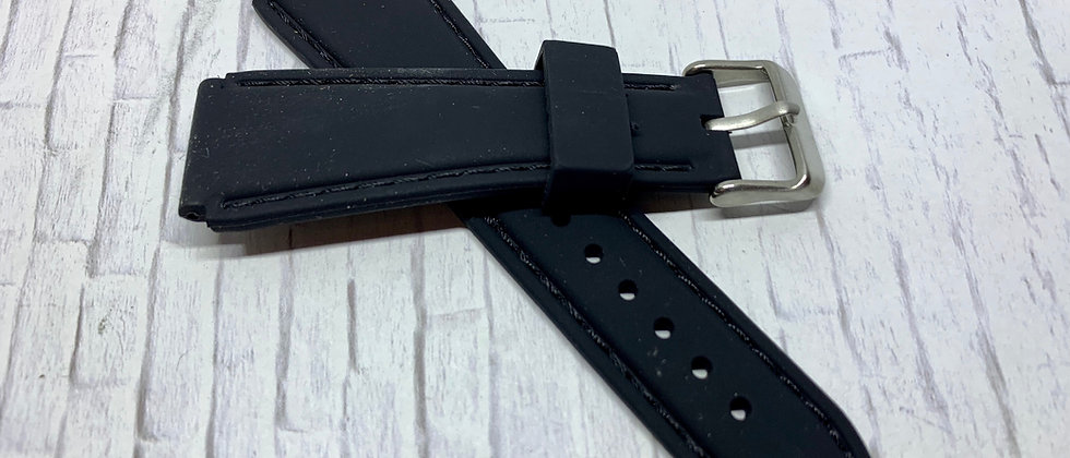 Black Rubber Flared Strap Black Stitching