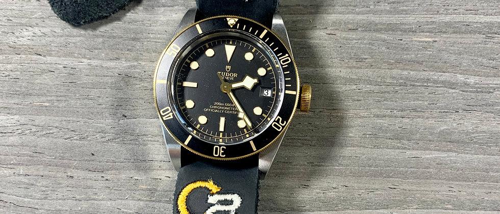 Black Full Grain Italian Calfskin Leather watch strap New embroidered design