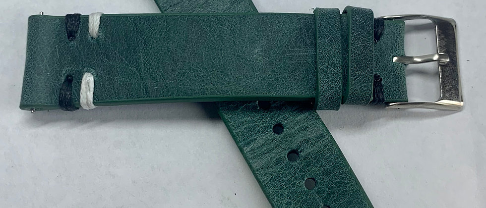 QR - Vintage Leather - Hand Made Green Strap