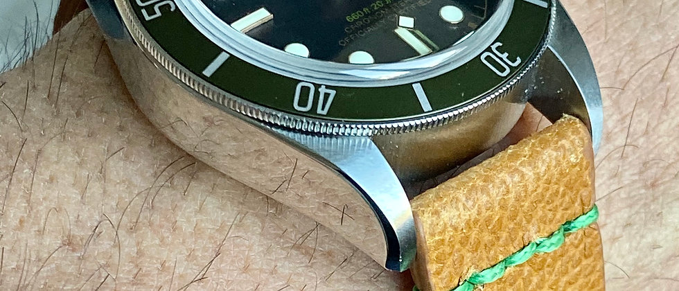 Light Brown Horween Leather Racing watch strap GREEN Stitch