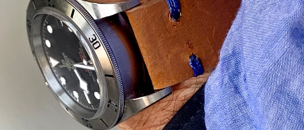 Thick Brown Crazy Horse Leather watch strap - Blue Stitch