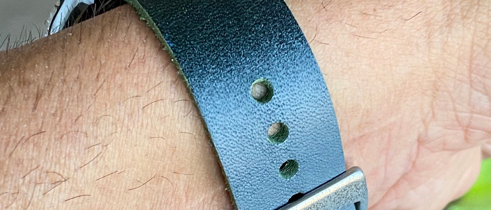 Dark GREEN/GRAY DDA leather strap