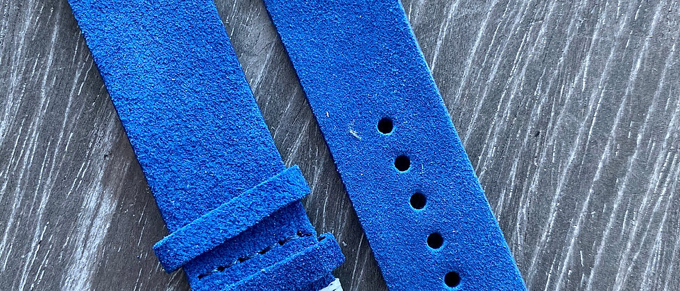 BLUE Suede Vintage Leather strap band WHITE stitch