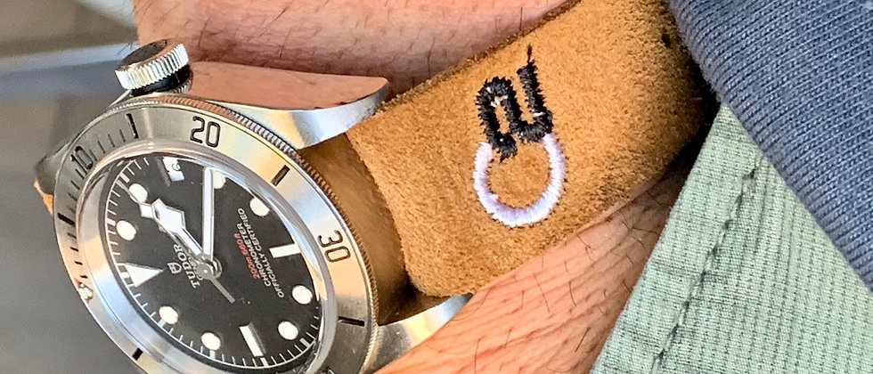 Brown Suede Top Grain Italian Leather watch strap New embroidered design