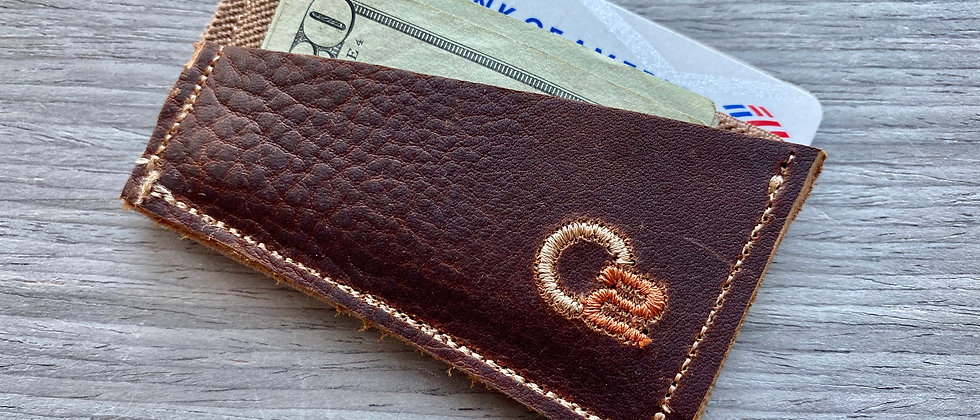 BROWN Italian Calfskin Top Grain Leather Minimalistic wallet