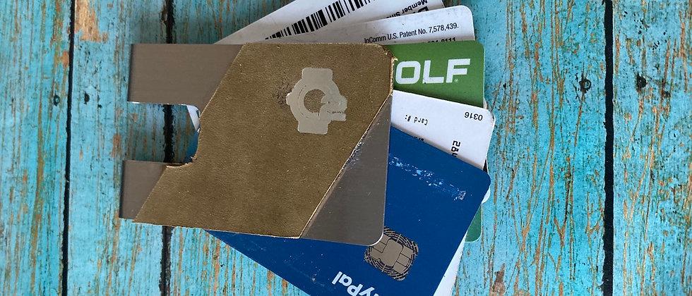 Tan Nubuck Calfskin leather & Steel minimalistic front pocket wallet