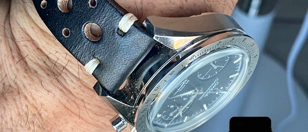 20mm BLACK Crazy Horse leather vintage racing strap WHITE Stitch