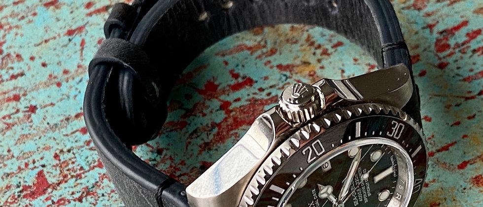 20mm DARK GRAY Modern Vintage Leather watch strap Thin BLACK Stitch