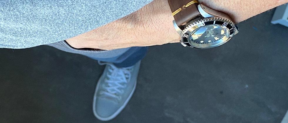 """Dark BROWN """"Modern Vintage"""" Leather strap TAN stitch"""