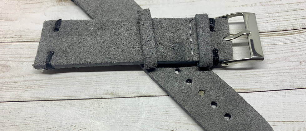 Vintage Suede Leather - Hand Made Grey