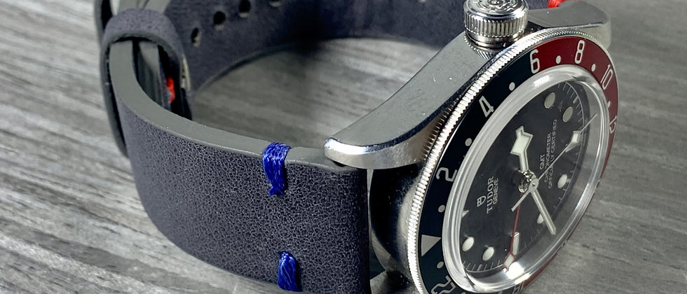 Dark Gray Crazy Horse Vintage Leather strap BLUE & RED GMT stitching