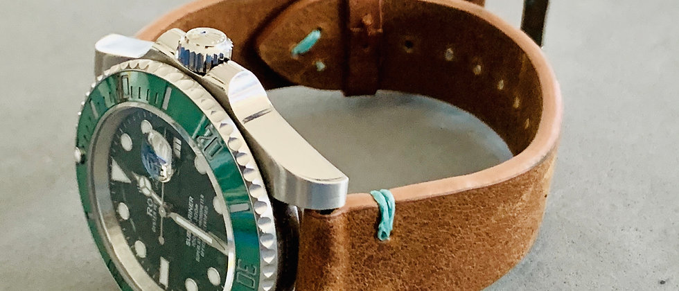 BROWN leather watch strap AQUA stitch