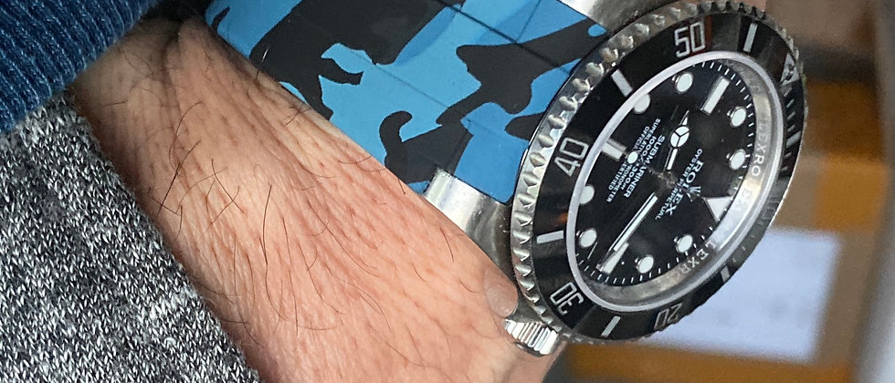 20mm Vulcanized Rubber strap for Rolex watches BLUE Camo