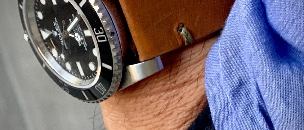 Lt. Brown Thick, Crazy Horse Leather watch strap - Olive Green Stitching