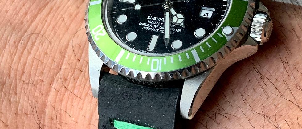 Black Modern, Minimalistic Distressed Leather strap GREEN stitching