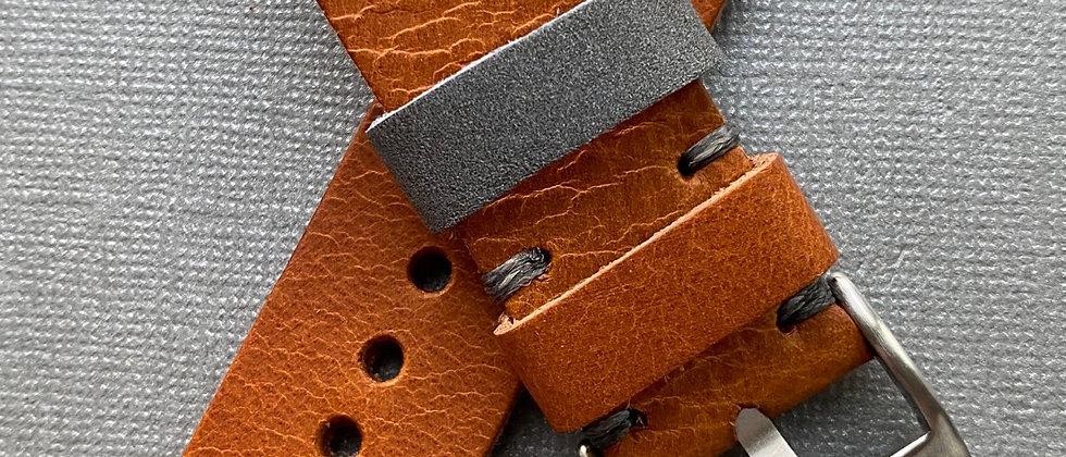 TAN Full grain leather strap GRAY stitch