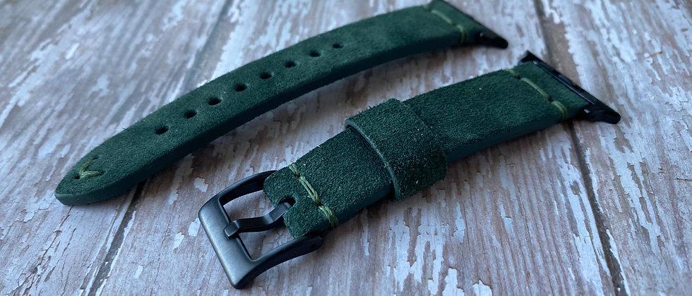 Dark GREEN suede strap for BLACK Apple watches