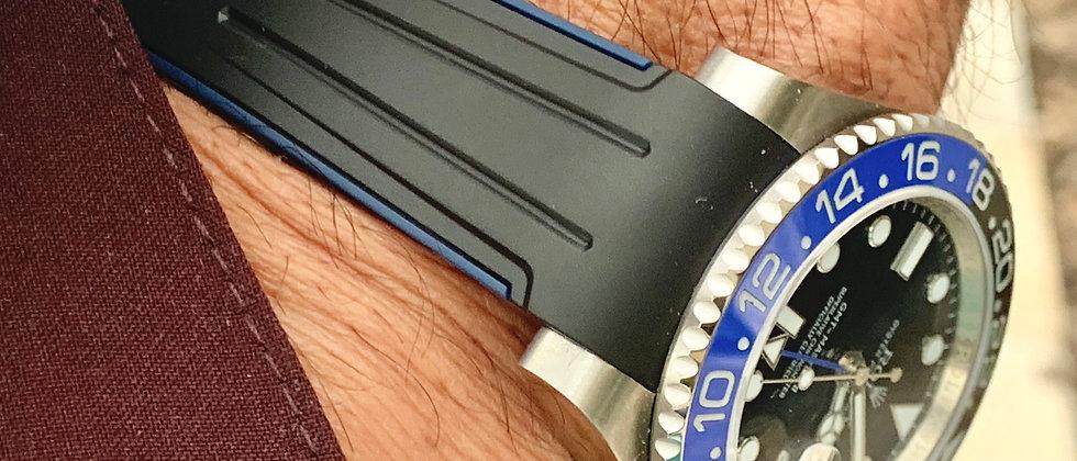 20mm Rolex Vulcanized Rubber band/strap BLACK & BLUE
