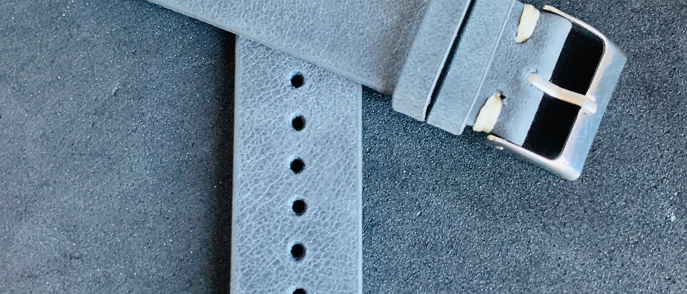 Dark GRAY Vintage Leather strap WHITE & AQUA stitching