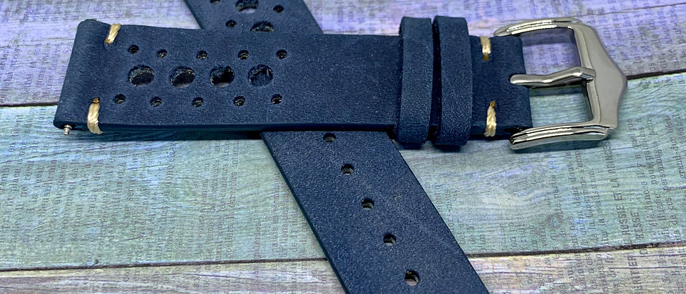 Leather Racing Strap - Hand Made Slate Blue