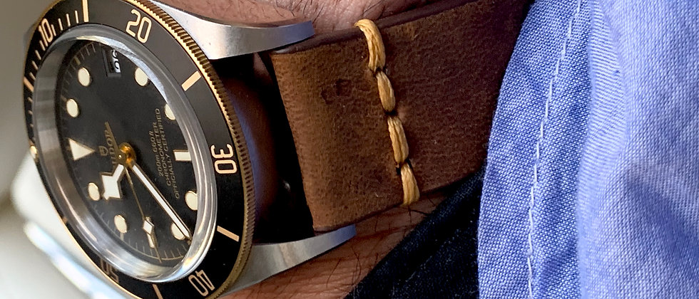 BROWN, Thick, Crazy Horse Leather watch strap - TAN Stitching