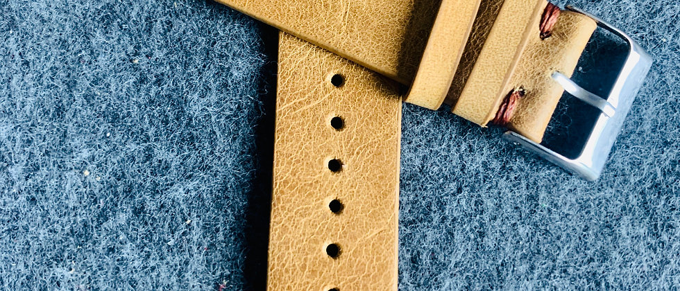 Light BROWN Vintage Leather strap BROWN stitching