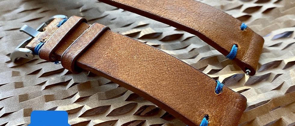 Brownish Orange Leather strap Slate BLUE stitch