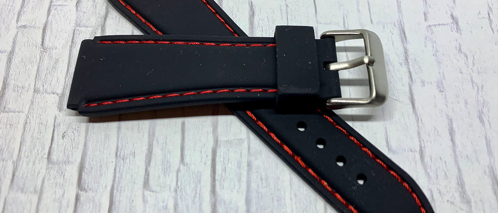 Black Rubber Flared Strap Red Stitching
