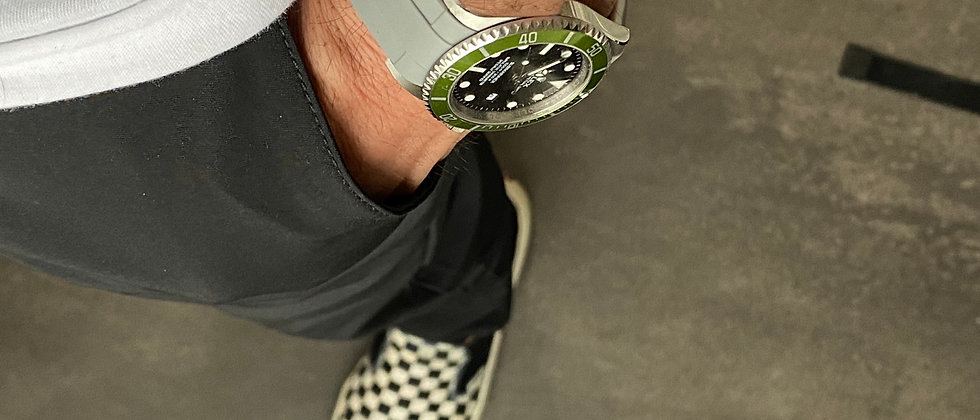 20mm GRAY/WHITE Vulcanized Rubber strap for rolex