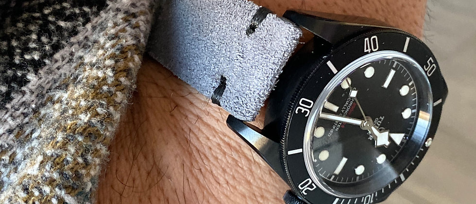 GRAY Suede Vintage Leather strap band BLACK stitch
