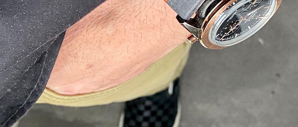 DARK GRAY Modern Vintage Leather strap Thin ORANGE stitch