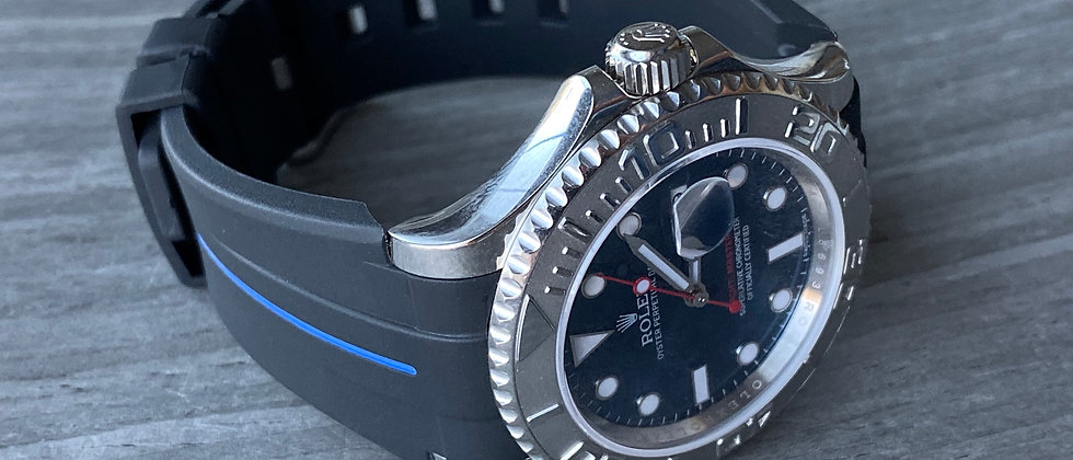 20mm Black Vulcanized Flared Rolex Rubber Strap BLUE stripe - Submariner, GMT,