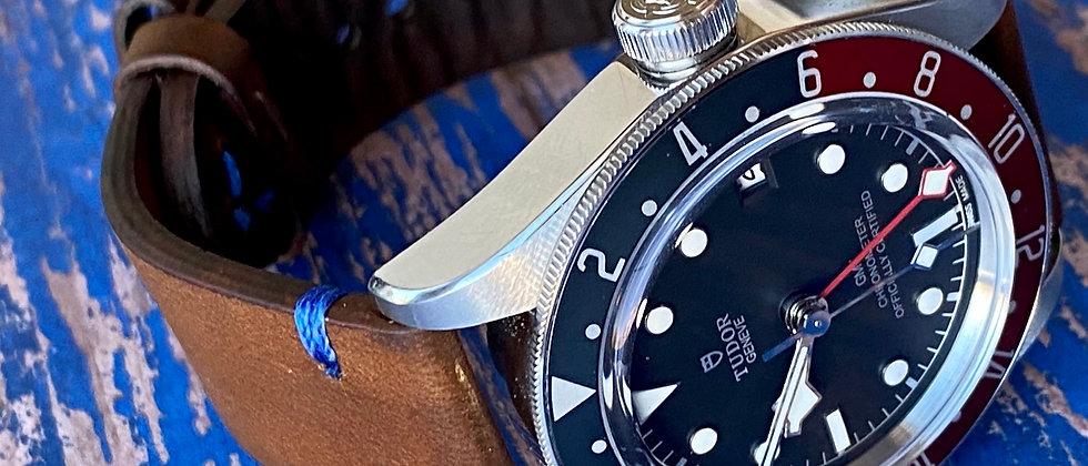 Medium to Dark Brown Vintage GMT Pepsi watch strap
