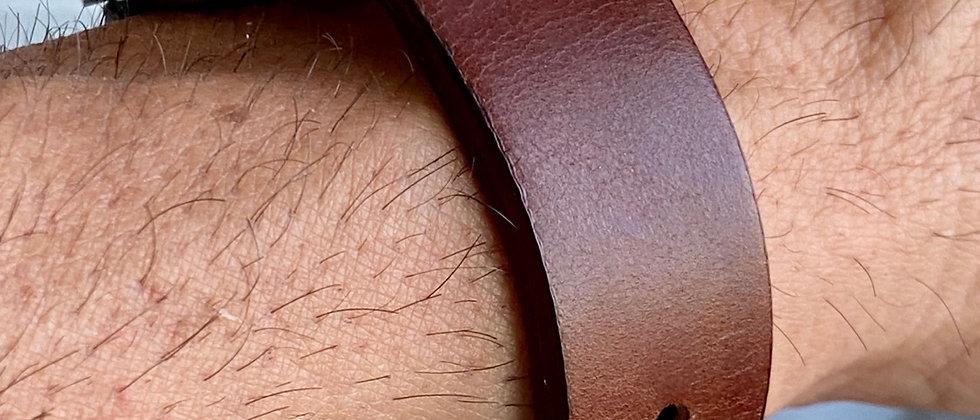 Dark BROWN TUSCAN Leather Watch Strap BLUE Stitch