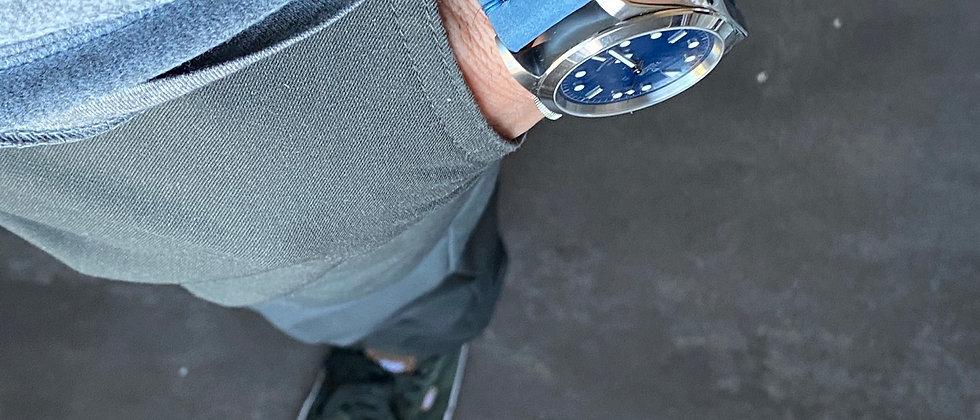 Thick BLUE Nubuck leather modern strap