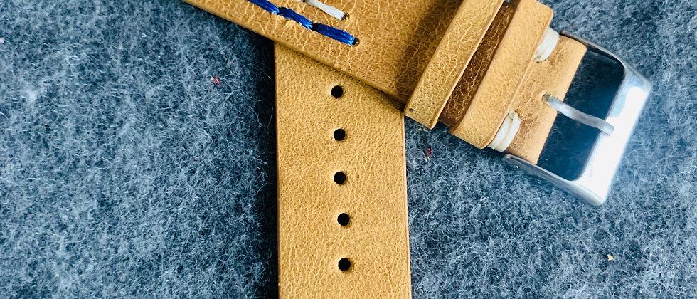 Light BROWN Modern Vintage Leather strap BLUE WHITE stitching